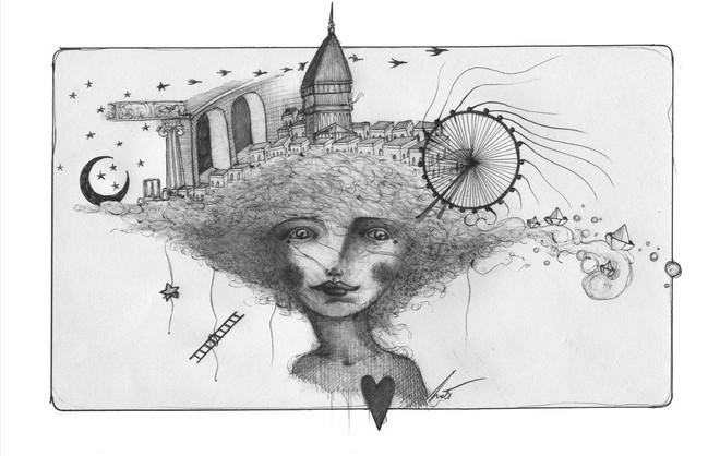 """""""La Poesia è viva"""", biro su carta 2021, Chiara Nott (l'artista, gentilmente, omaggia Torino)"""