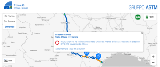 Autostrada A6 Torino-Savona: chiuso causa maltempo il tratto dopo Altare, in Liguria