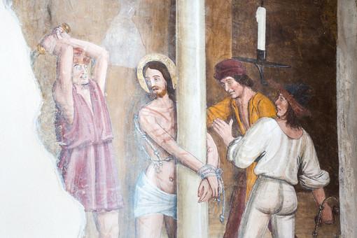 Particolare del ciclo pittorico sulla Passione di Gesù Cristo alla Confraternita di San Francesco d'Assisi a Santa Vittoria d'Alba - Copyright fotografie Treevision