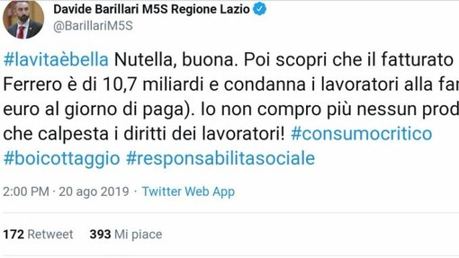 Barillari (M5S) attacca la Ferrero: insorgono lavoratori e fan della Nutella