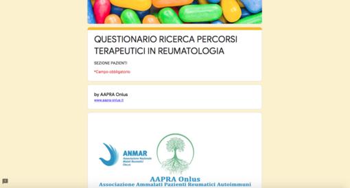 Aapra Onlus lancia questionario online per gli ammalati reumatologici