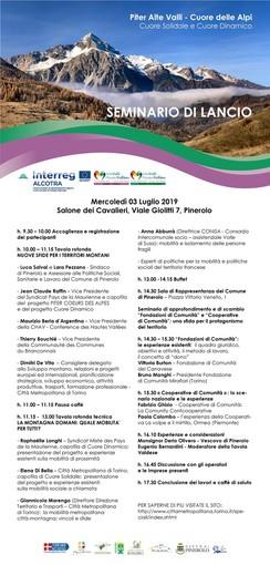 """Il 3 luglio a Pinerolo lancio di due progetti del Piter """"Cuore delle Alpi"""""""