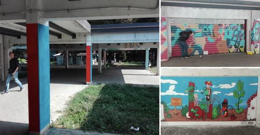 Quartiere Barca, gli studenti della scuola di pittura riqualificano il porticato di via Anglesio