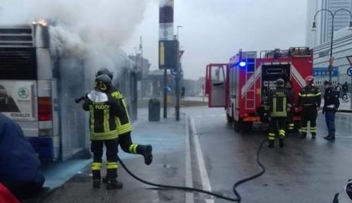 L'incendio sulla linea 46 (immagine di repertorio)