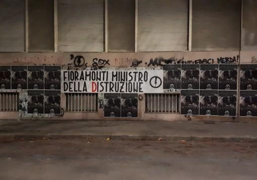 """Striscione di Blocco Studentesco contro il ministro Fioramonti: """"Ministro della Distruzione"""""""