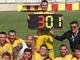Manuele Barison nel giorno dei festeggiamenti per i 300 gol nel calcio piemontese