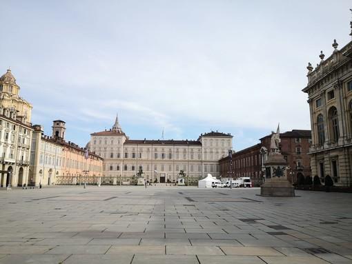 A Pasquetta centro di Torino deserto: il vuoto davanti a Palazzo Madama, Museo Egizio e Mole (FOTO e VIDEO)