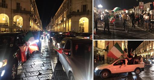 La festa in centro per la vittoria in semifinale dell'Italia