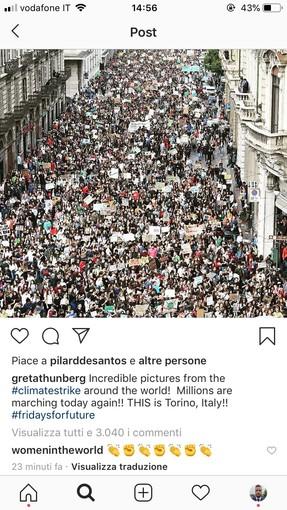"""Friday for future, Greta Thunberg condivide sui social le foto di Torino: """"Incredibile"""""""
