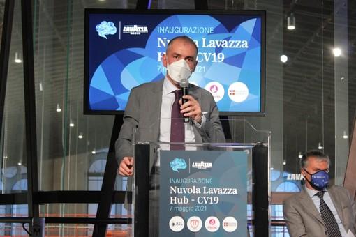 Andrea Costa inaugurazione dell'hub vaccinale Lavazza