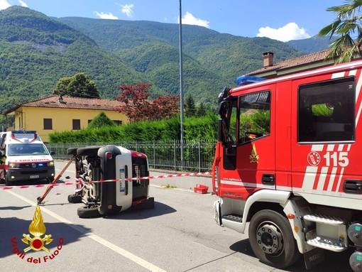 Due Fiat Panda si scontrano a Sant'Antonino di Susa, intervento di pompieri e ambulanze