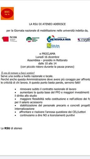 Lunedì 16 dicembre assemblea presidio all'Università di Torino