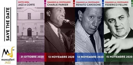 Il Moncalieri Jazz Festival 2020 renderà omaggio a Charlie Parker, Renato Carosone e Federico Fellini