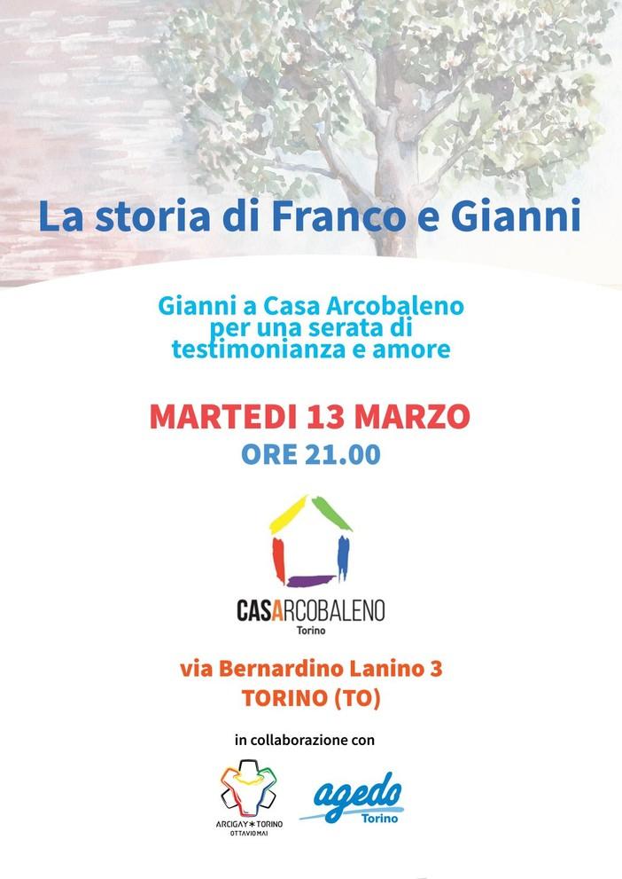 """Domani sera a CasArcobaleno presentazione del libro """"La storia di Franco e Gianni"""""""