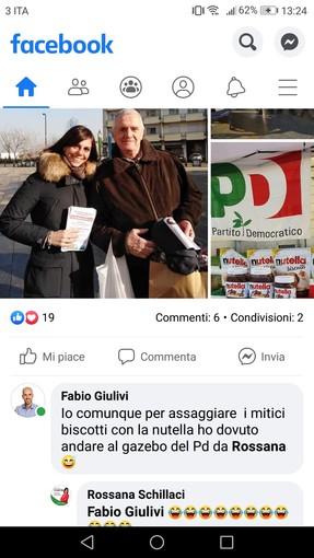 """Schillaci-Giulivi, il """"duello"""" elettorale scopre un retrogusto natalizio di Nutella sui social: """"Per assaggiare i biscotti sono dovuto venire al tuo stand"""""""