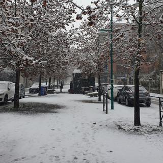 La neve nei viali di Chivasso