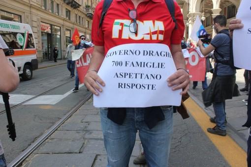foto di repertorio di una protesta dei dipendenti ex Embraco
