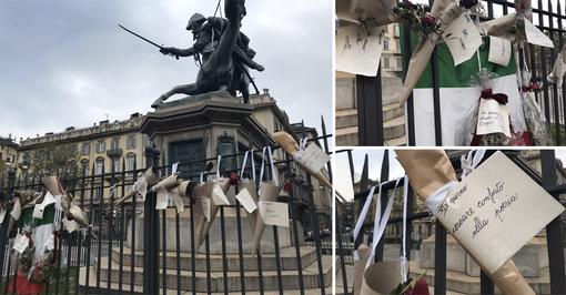 Rose rosse e messaggi d'amore: in piazza Solferino la speranza è più forte del Coronavirus [FOTO e VIDEO]