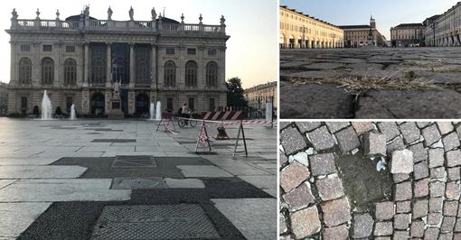 Erba gialla, toppe e sampietrini: le piazze auliche di Torino assediate dal degrado [FOTO e VIDEO]