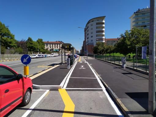 Aurora, aperto il primo tratto di pista ciclabile in Corso Vercelli