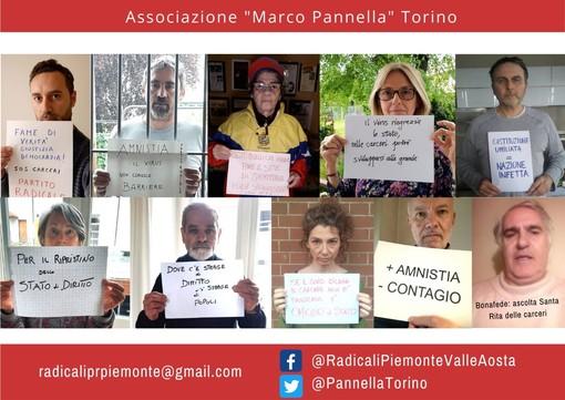 Sit-in in lockdown per la legalità dell'associazione Marco Pannella di Torino