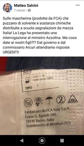 """Salvini all'attacco delle mascherine FCA: """"Puzzano di solvente, ma cosa date ai nostri figli?"""""""