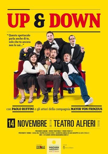 Al Teatro Alfieri, per la prima volta a Torino, lo spettacolo di Paolo Ruffini Up&Down