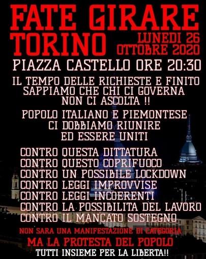 """Appelli a Torino contro il coprifuoco: """"Scendiamo in piazza e ribelliamoci alla dittatura"""""""