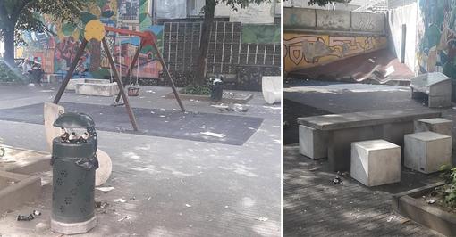 Lattine e cocci di bottiglia nei giardini dei bimbi: in via Cecchi l'area giochi è in mano agli ubriachi