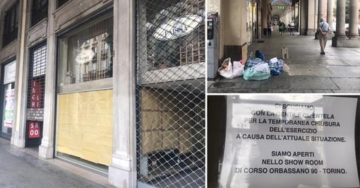 Vetrine abbandonate, mendicanti e negozi in vendita: il Covid ha messo in ginocchio via Cernaia [VIDEO e FOTO]